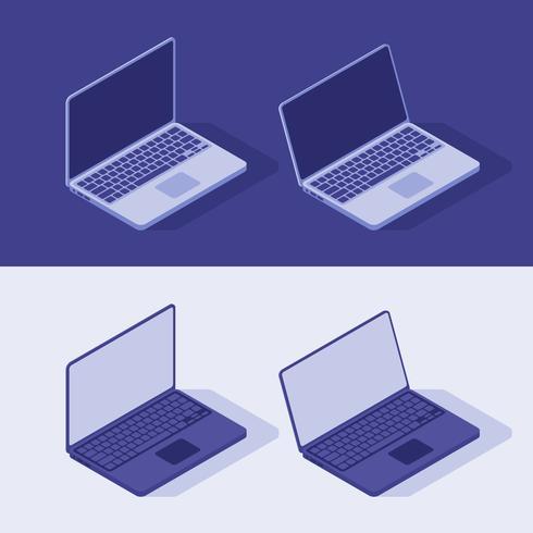 Isometrico Laptop Vector in tema di luce e dardo. Illustrazione stile piatto.