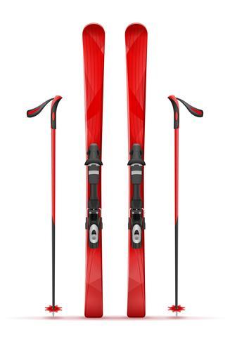 berg ski en stok vector illustratie