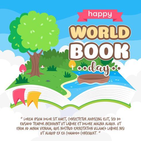 Flotante pop-up libro de cuentos con paisajes de la naturaleza. ilustración vectorial de dibujos animados
