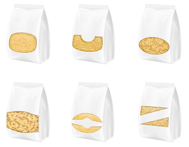Pasta en ilustración vectorial de embalaje vector