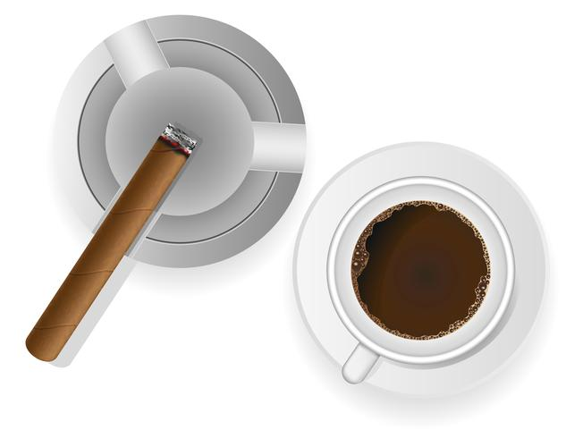 burning cigar in an ashtray and coffee vector illustration