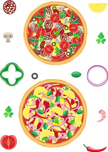 pizza et composants vector illustration