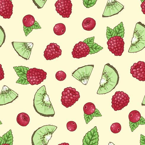 Raspberry seamless pattern forest berries. Vector drawing.
