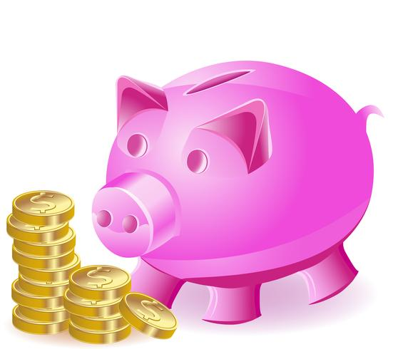La caja de dinero es un cerdo y monedas de oro.