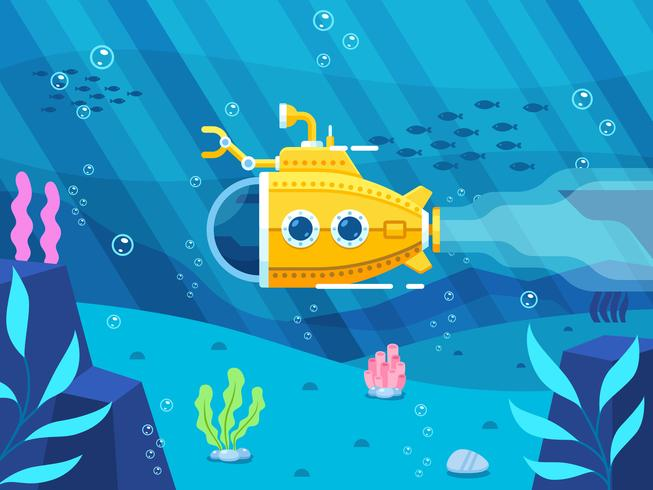 yellow submarine under the sea with colorful coral flat vector illustration
