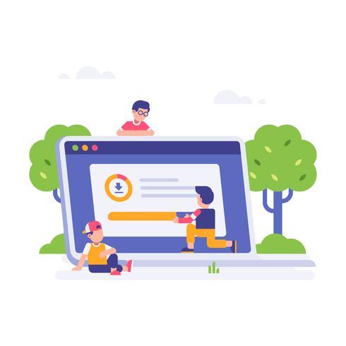 Le persone in attesa di download hanno finito con il grande laptop e lo sfondo delle foglie. illustrazione piatta pagina di destinazione