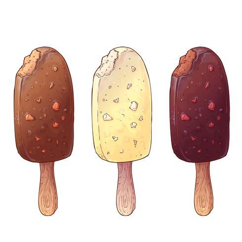 Una serie di tre tipi di gelato. Disegno a mano Illustrazione vettoriale