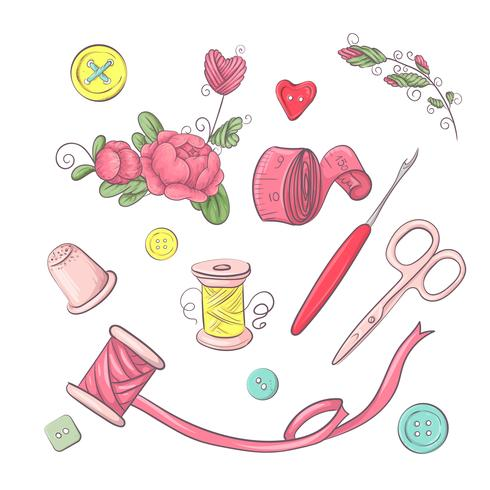 Set of mannequin sewing accessories. Hand drawing. Vector illustration