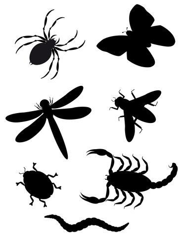 silhueta de besouros e insetos vetor