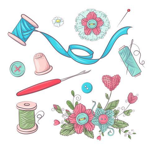 Conjunto de accesorios de costura maniquí. Dibujo a mano. Ilustración vectorial