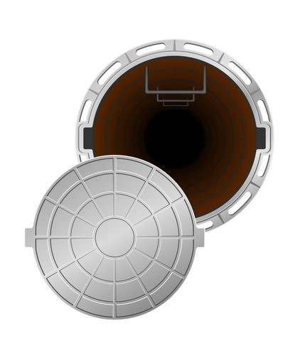 poço de esgoto aberto com uma ilustração vetorial de hachura