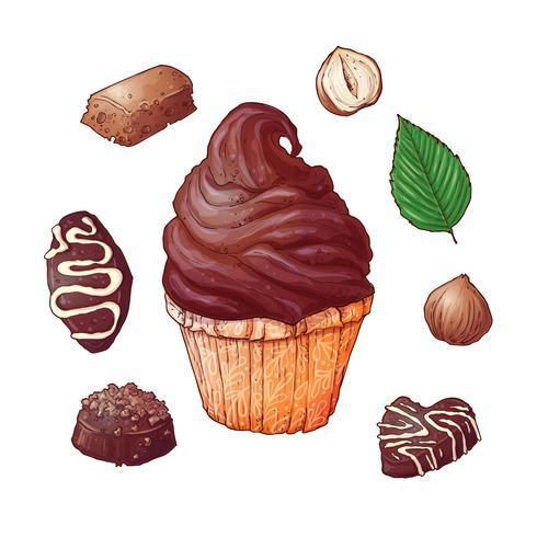 Conjunto de chocolates cupcakes a mano dibujo. Vector