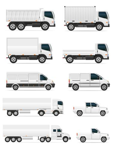 set of icons cars and truck for transportation cargo vector illustration
