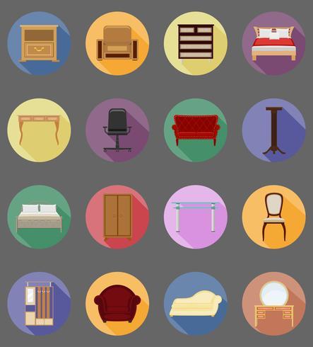 meubilair ingesteld plat pictogrammen vector illustratie