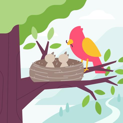 Bird Feeding Chicks with worm in the tree nest. Vector Flat Cartoon Illustration