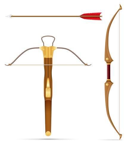 batalla ballesta y arco medieval stock vector ilustración