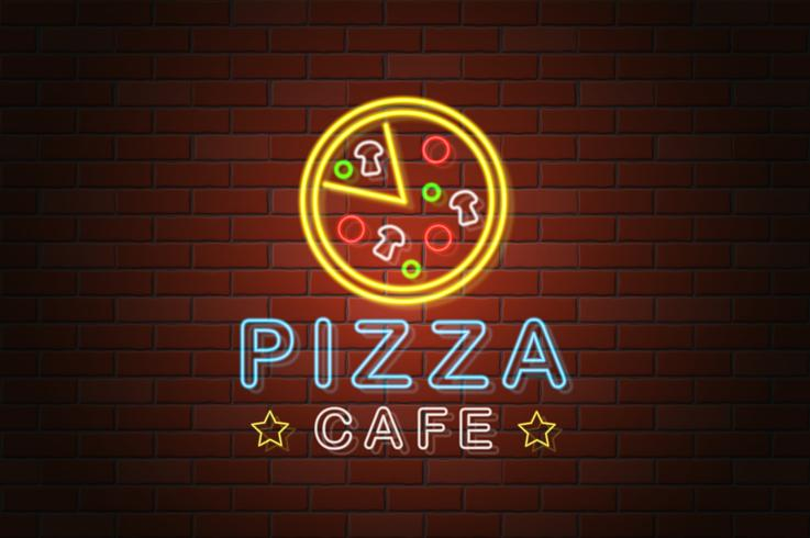 glowing neon signboard pizza cafe vector illustration