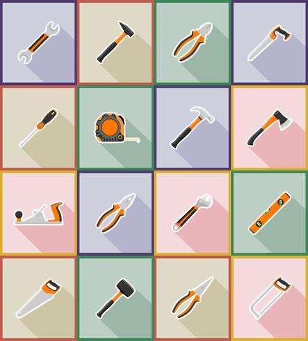 la riparazione e la costruzione delle icone piane degli strumenti vector l'illustrazione