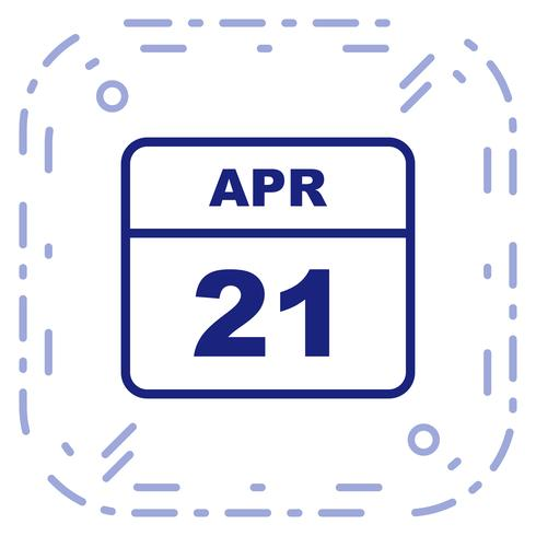 Fecha del 21 de abril en un calendario de un solo día