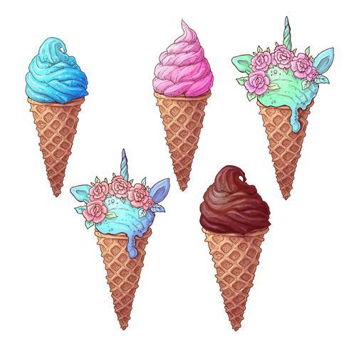 Conjunto colorido helado unicornio, dibujo a mano. Ilustración vectorial