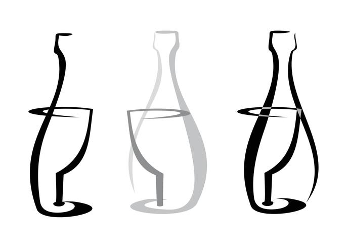 Botella de vino y vidrio en blanco