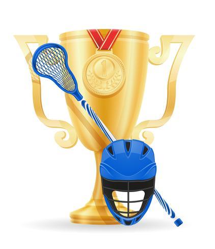 Copa de lacrosse ganador oro stock vector ilustración