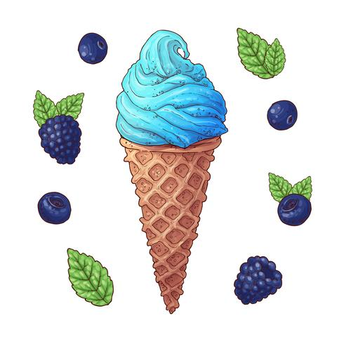 Conjunto de ilustración de vector de cono de helado