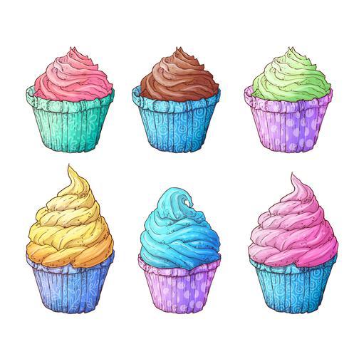 Definir cupcakes. Vetorial, ilustração, de, mão, desenho