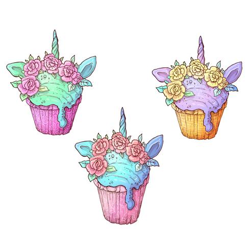 Set ice cream unicorn. Vector illustration Hand drawing