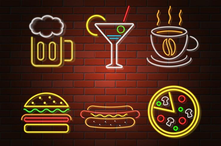 glowing neon signboard fast food and drink vector illustration