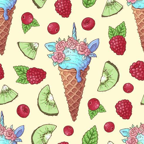 Cereza de la frambuesa del kiwi del helado inconsútil del modelo. Ilustración vectorial