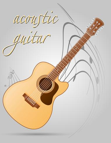 guitare acoustique instruments de musique stock vector illustration