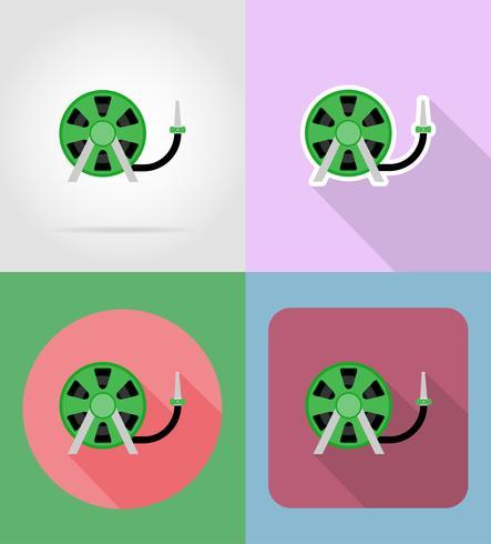 Manguera de herramienta de jardinería para regar iconos planos vector illustration