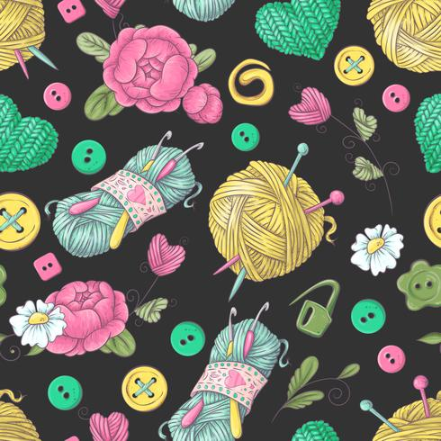Seamless pattern handmade knitted flowers and elements and accessories for crocheting and knitting