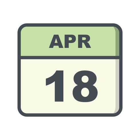 April 18th Date on a Single Day Calendar