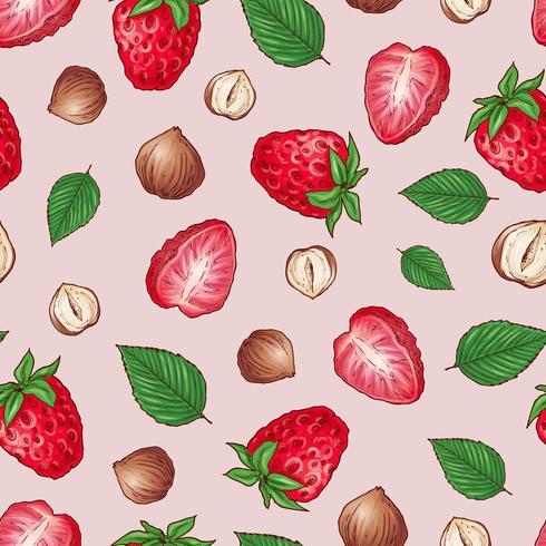 Modèle sans couture de fraises noix. Illustration vectorielle Dessin à la main