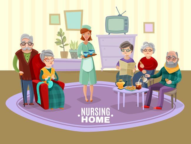 Ilustración de personas mayores de enfermería vector