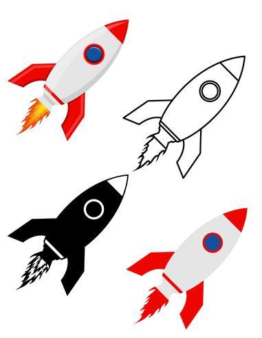 Nave espacial retro cohete espacial set iconos planos vector illustration
