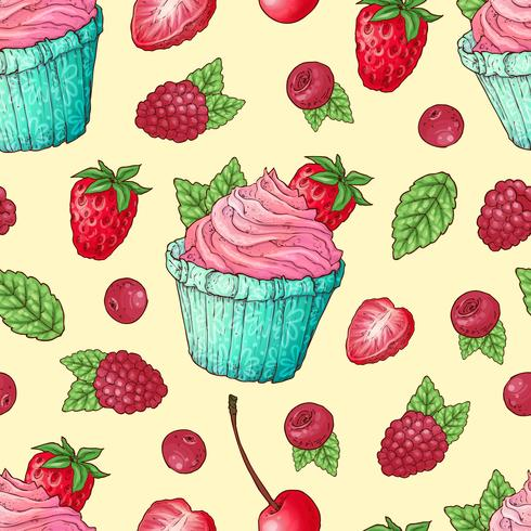 Modelo inconsútil cupcakes fresa frambuesa cereza. Dibujo a mano. Ilustración vectorial