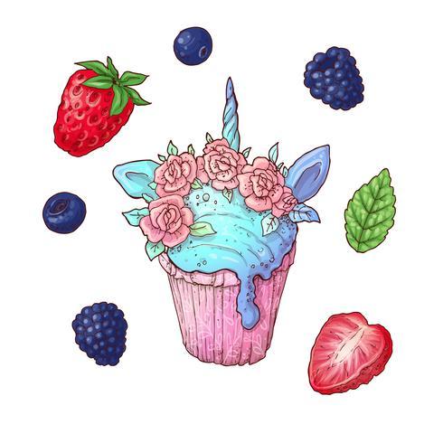 Eine Reihe von Cupcake-Beeren. Vektor-illustration Handzeichnung
