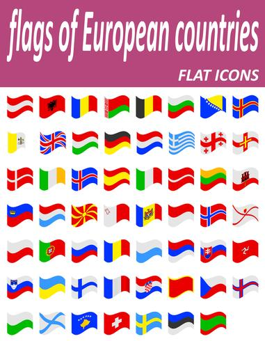 flags of european countries flaticons vector illustration