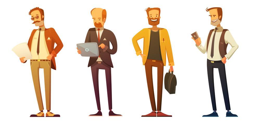 Conjunto de desenhos animados do empresário vestido código Retro