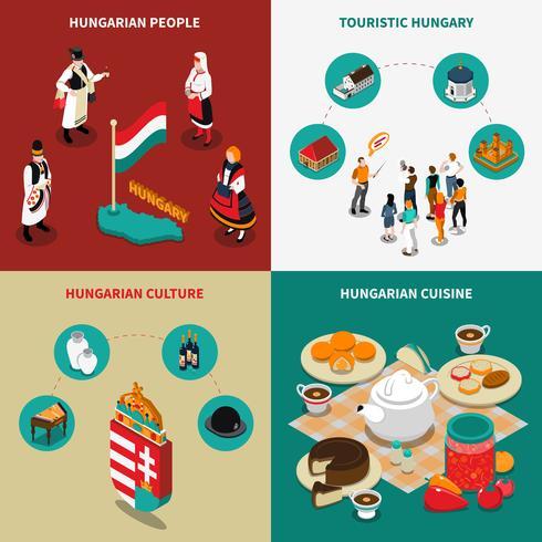 Insieme isometrico turistico delle icone di 2x2 dell'Ungheria