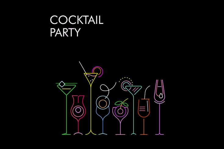 Cocktails neon kleuren vector achtergrond