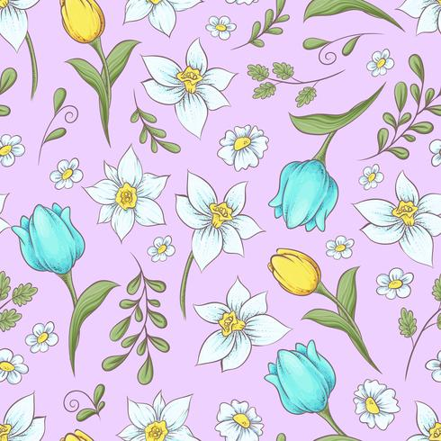 Patrón sin fisuras de los tulipanes de los narcisos. Dibujo a mano ilustración vectorial vector