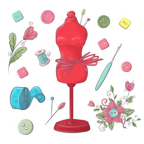 Conjunto de accesorios de costura maniquí. Dibujo a mano. Ilustración vectorial vector