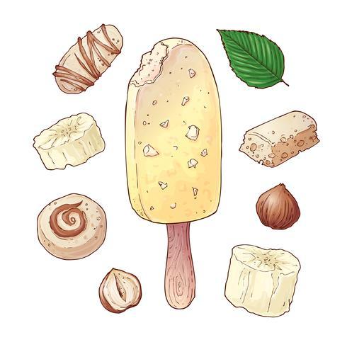 Fije las tuercas del chocolate del caramelo del plátano del helado. Dibujo a mano. Ilustración vectorial