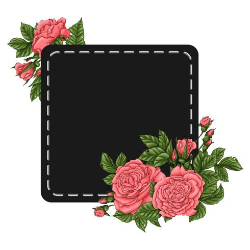 Frame of coral roses. Hand drawing Vector illustration