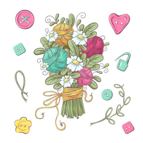 Set för handgjorda stickade blommor och element och tillbehör för hakning och stickning