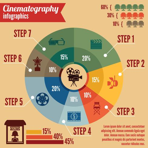 Cinema entertainment business infographics vector